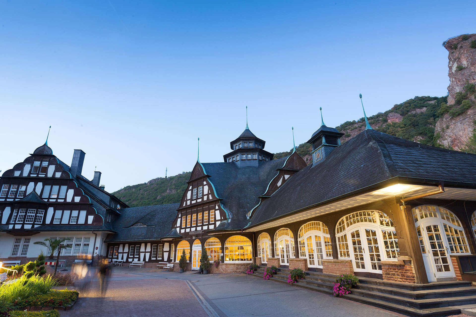 Das Kurmittelhaus im Kurpark von Bad Münster am Stein-Ebernburg, Nahe