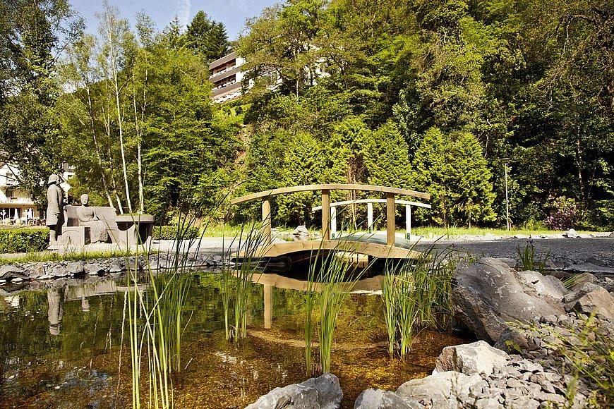 Brug en vijver in het landschapstherapeutisch park Römerkessel in Bad Bertrich, Eifel