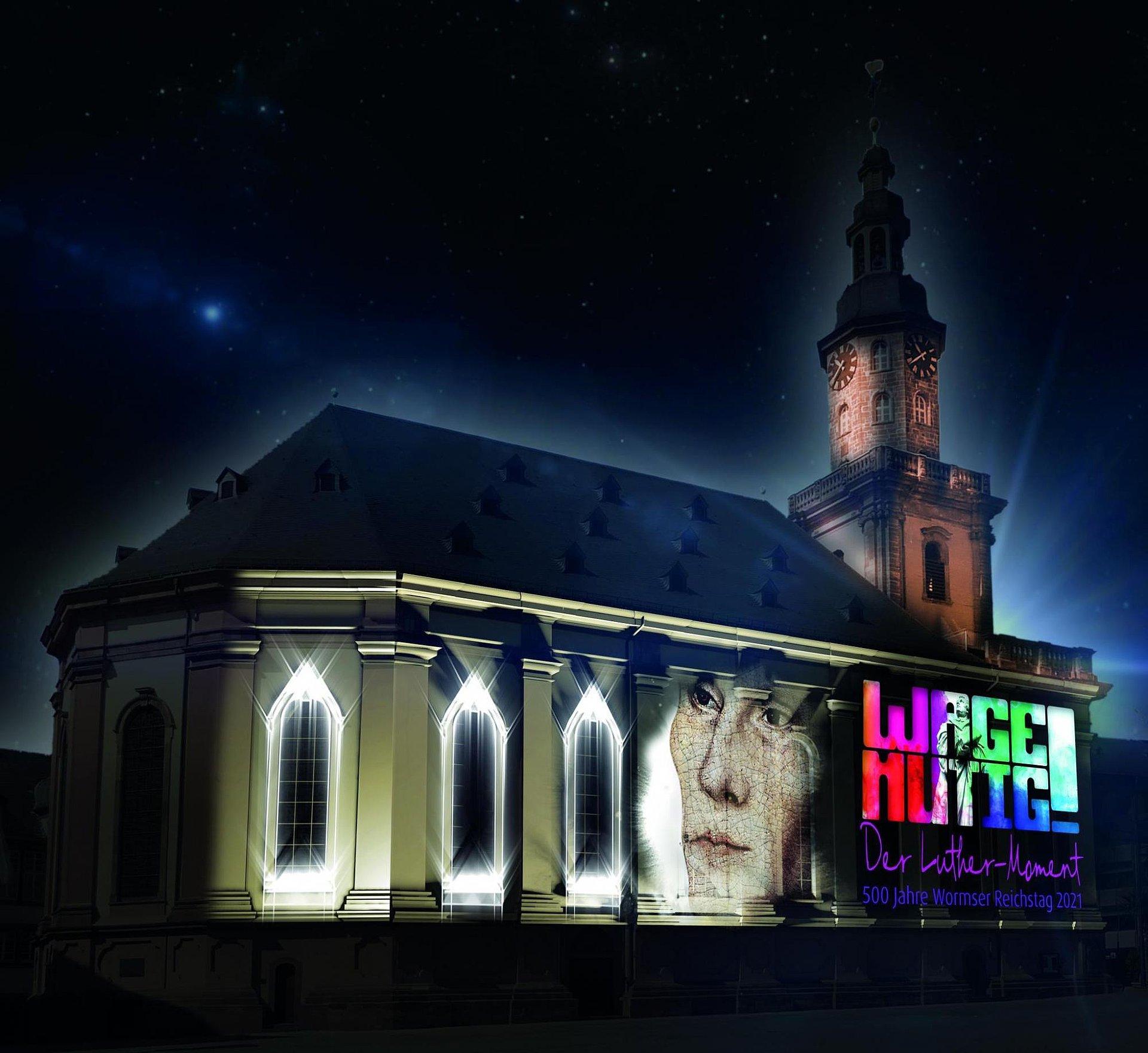 Luther-Moment an der Dreifaltigkeitskirche Worms, Rheinhessen