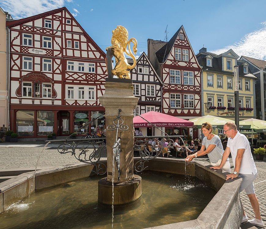 Brunnen mit goldenem Löwen auf dem Alten Markt in Hachenburg, Westerwald
