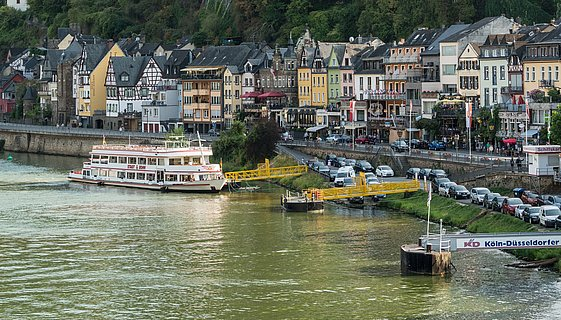 Boat at the Moselle riverbank in Cochem, Moselle