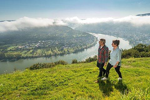 Vue du Gedeonseck sur le coude du Rhin près de Boppard, Rhin romantique