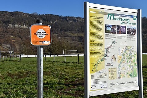 Listening station on the Moselle Cycle Path at Igel, Moselle