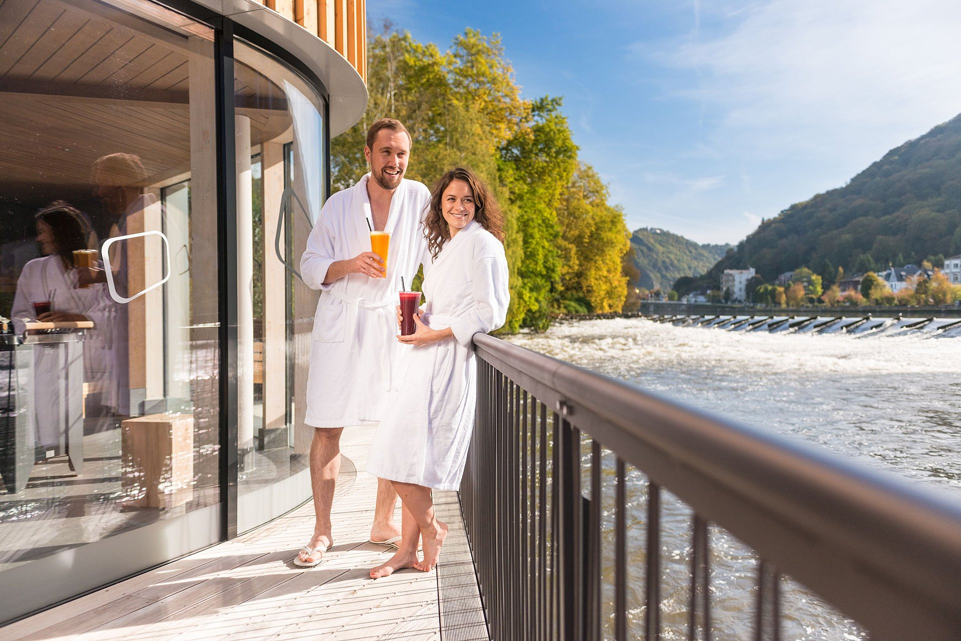 The river sauna of the Bad Ems spa, Lahn valley