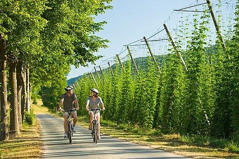 Fietsers op het Prümtal fietspad, Eifel