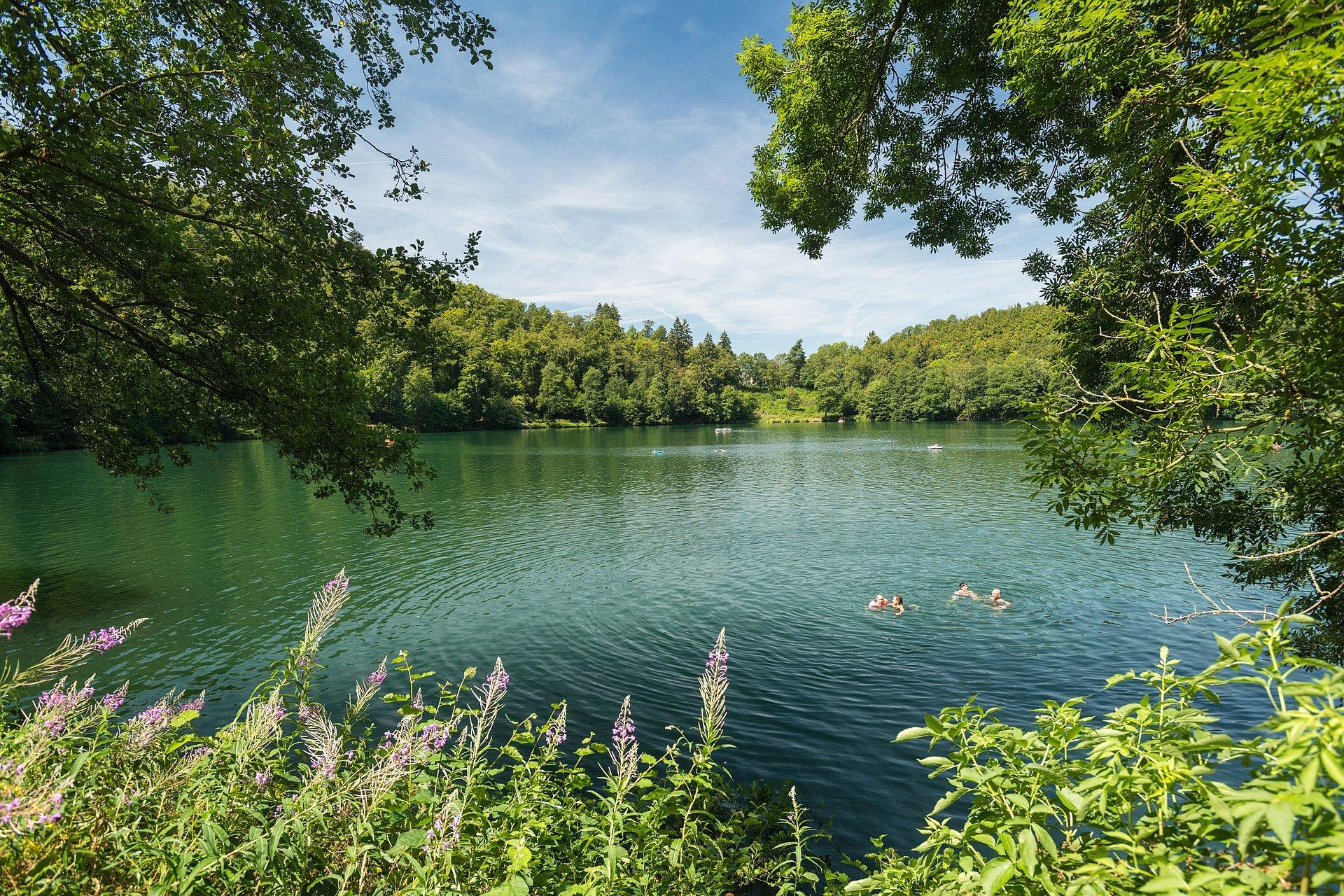 Verfrissing bij het zwemmen in het natuurlijk openluchtzwembad Gemündener Maar, Eifel