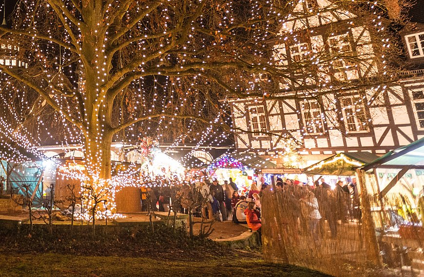 Romantic christmas market at Bad Münster am Stein-Ebernburg, Nahe valley