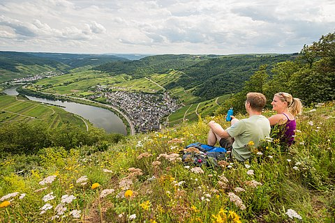 Moment de détente le long du circuit Moselsteig, vallée de la Moselle