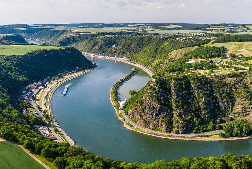 Panoramic view of the famous Loreley cliffs, Romantic Rhine