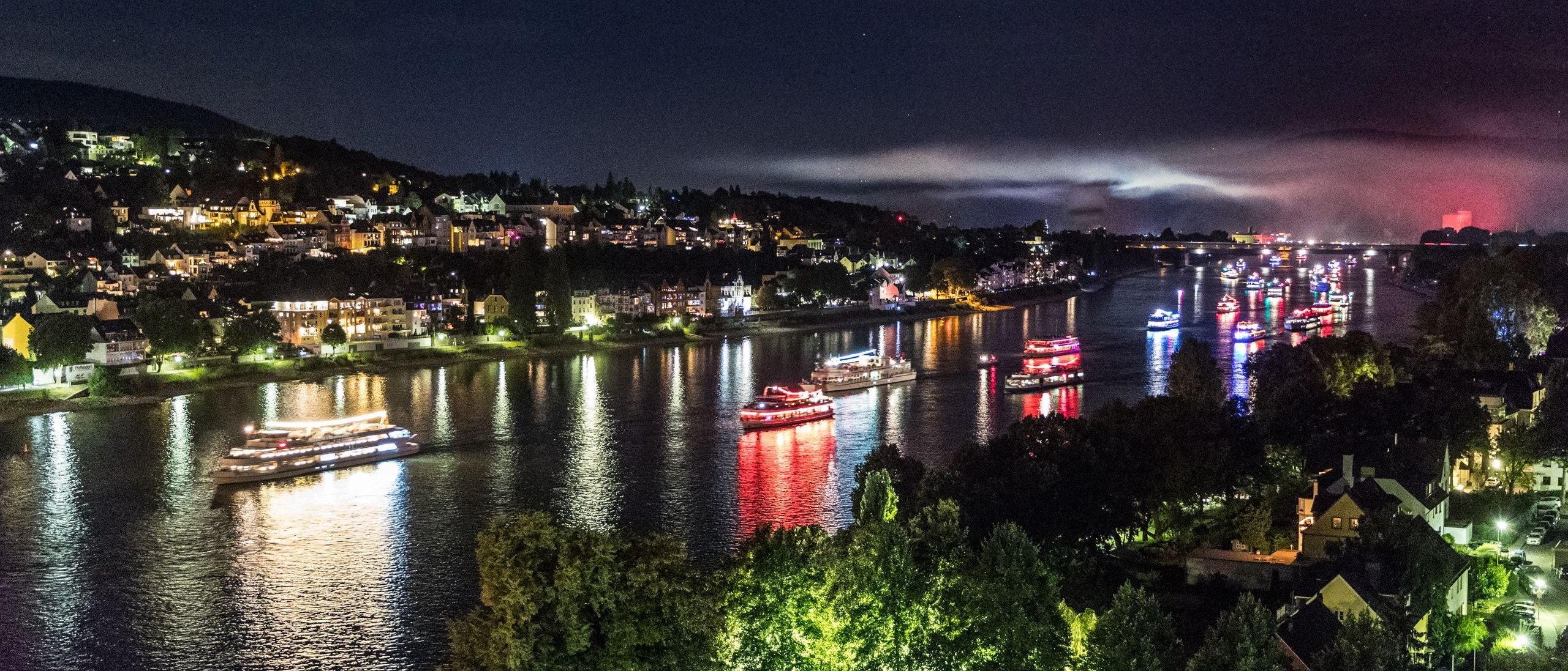 "River boat parade between ""Schloss Stolzenfels"" Castle and ""Deutsches Eck"" Koblenz at ""Rhine in Flames"""
