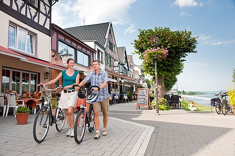 Cycling along the banks of the Rhine in Bad Breisig, Romantic Rhine