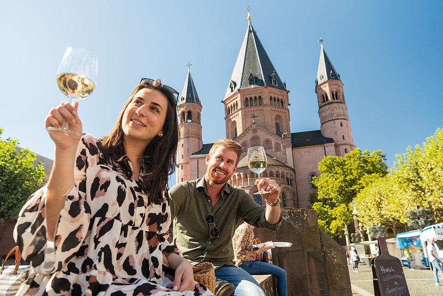 Enjoying wine outside Mainz Cathedral, Rhine-Hesse