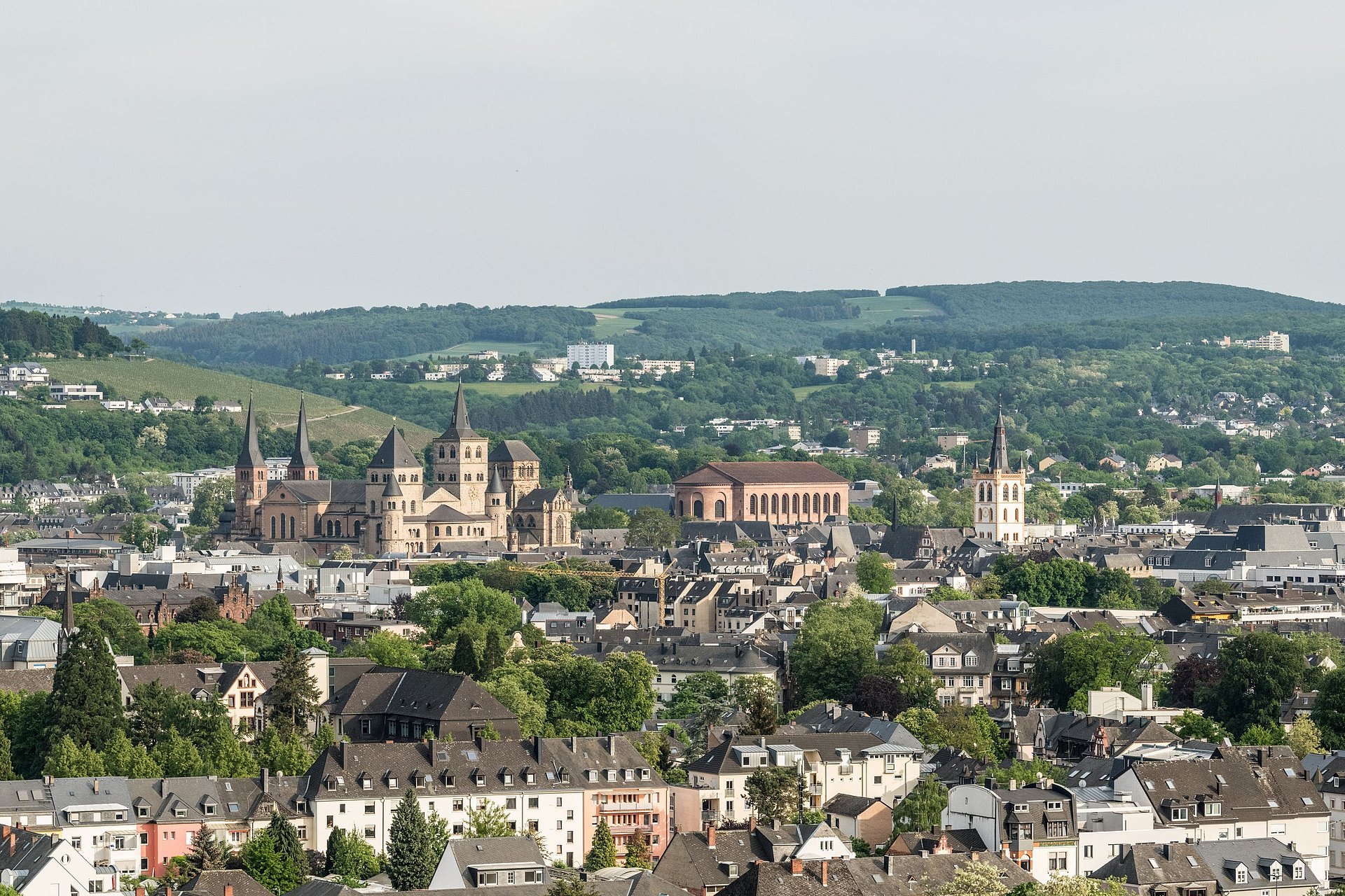 Gezicht op de stad Trier met de kathedraal van Trier, Moezel