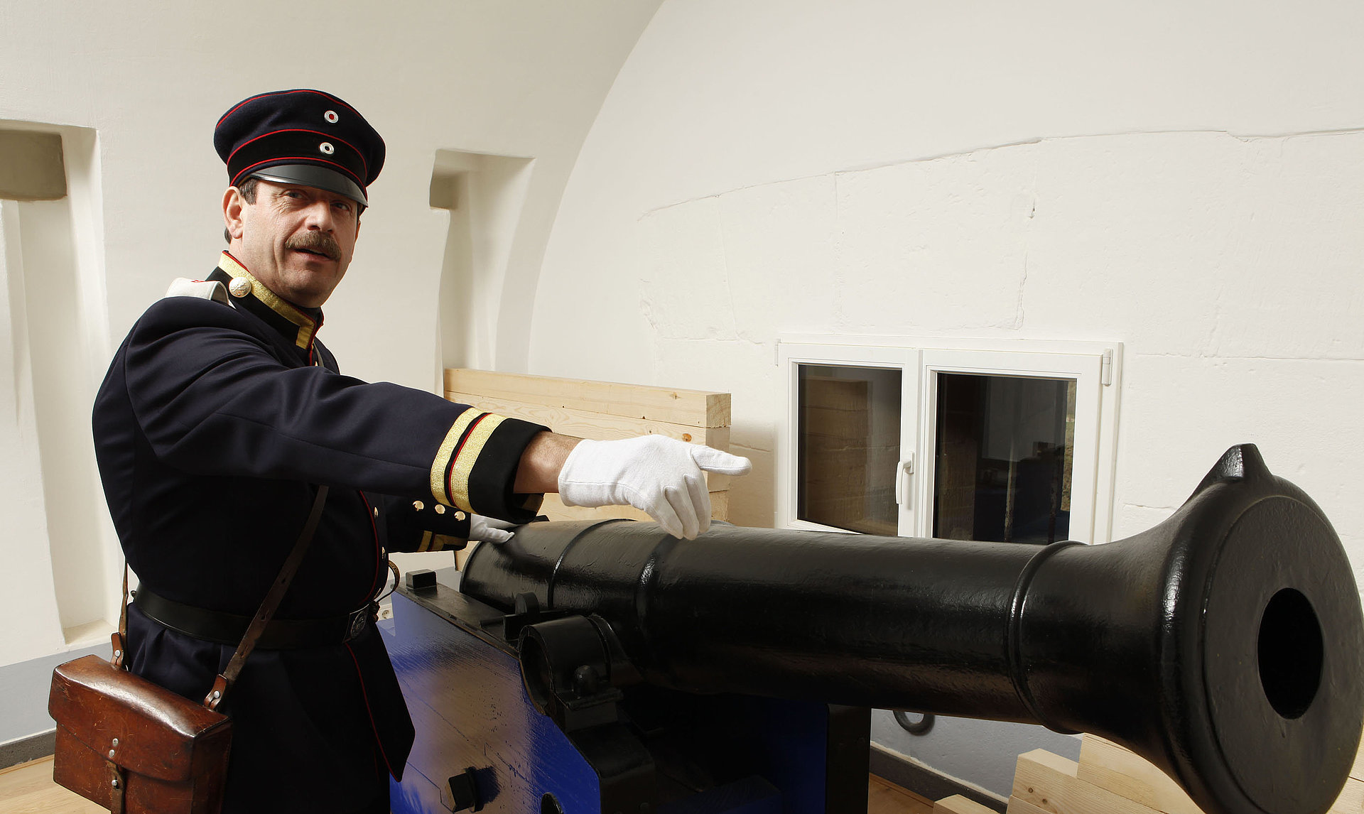 A fortress gunner in the State Museum of Koblenz, Romantic Rhine