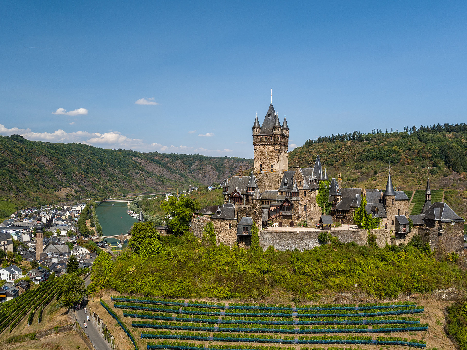 The Reichsburg castle in Cochem, Moselle