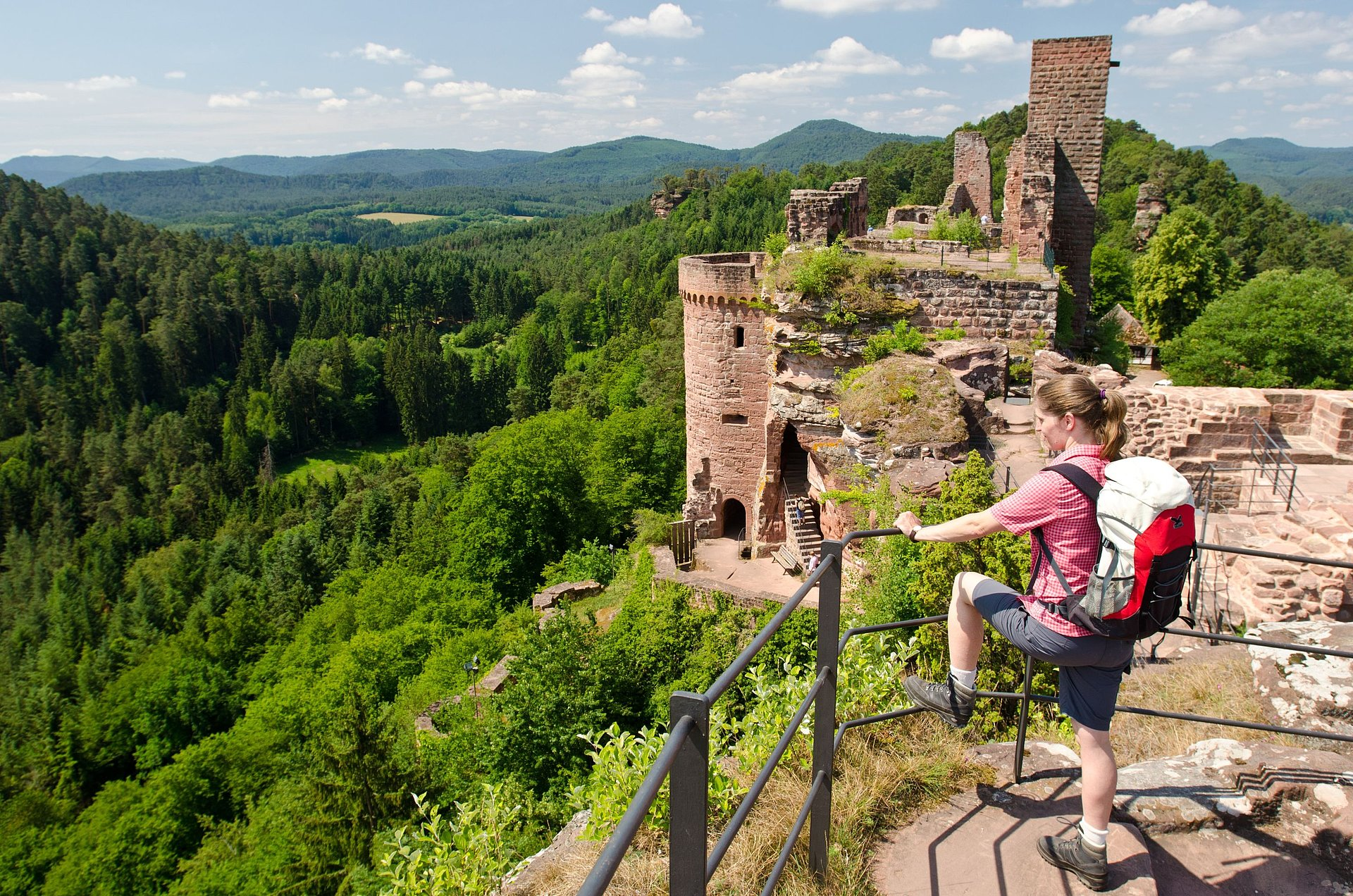 Hikers at the ruin of Alt-Dahn in Palatine Forest, Palatinate
