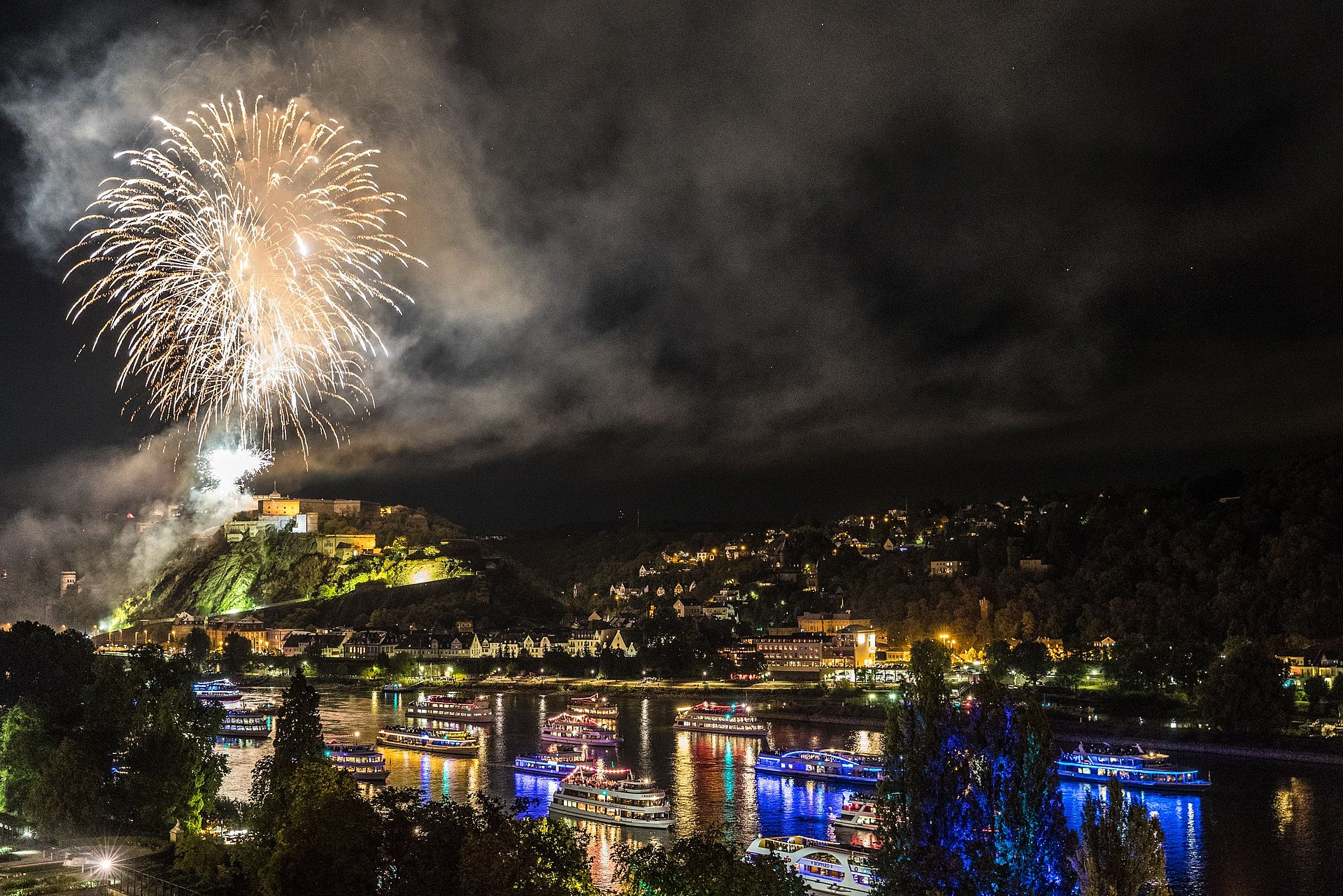"Fireworks above Ehrenbreitstein fortress at ""Rhine in Flames"" in Koblenz, Romantic Rhine"