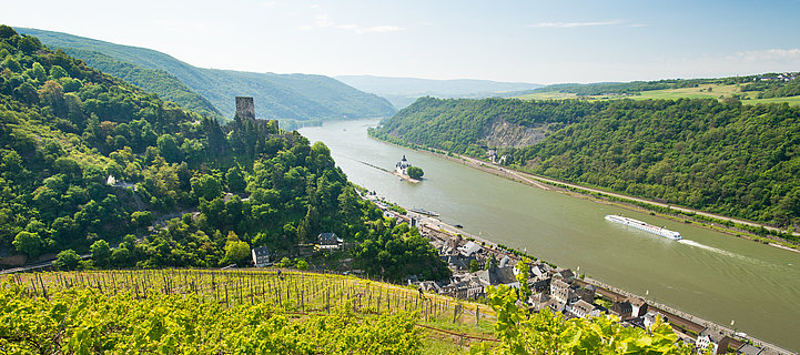 View of the Middle Rhine valley near Kaub, Romantic Rhine