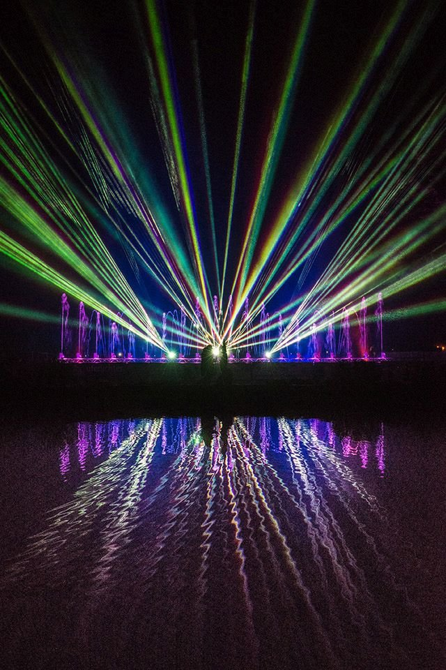 High-tech laser show at Klangwelle festival in Bad Neuenahr, Ahr valley