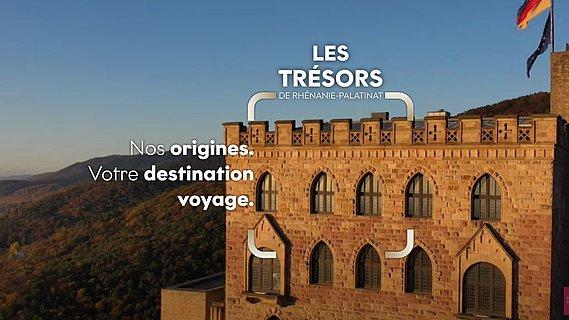 Vue du château de Hambach entouré d'un vaste paysage sur la route des vins allemands, Palatinat