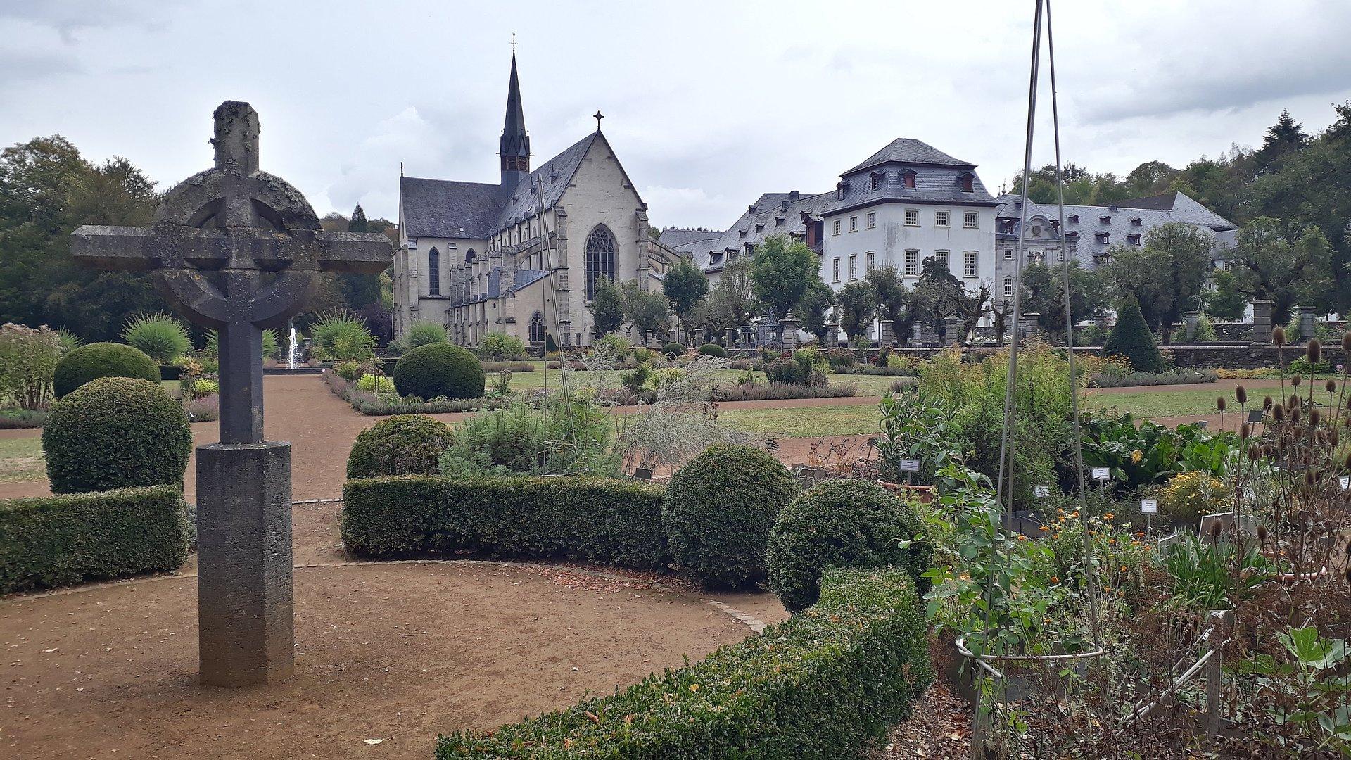 Marienstatt Abbey with monastery gardens in the Nistertal valley near Streithausen, Westerwald