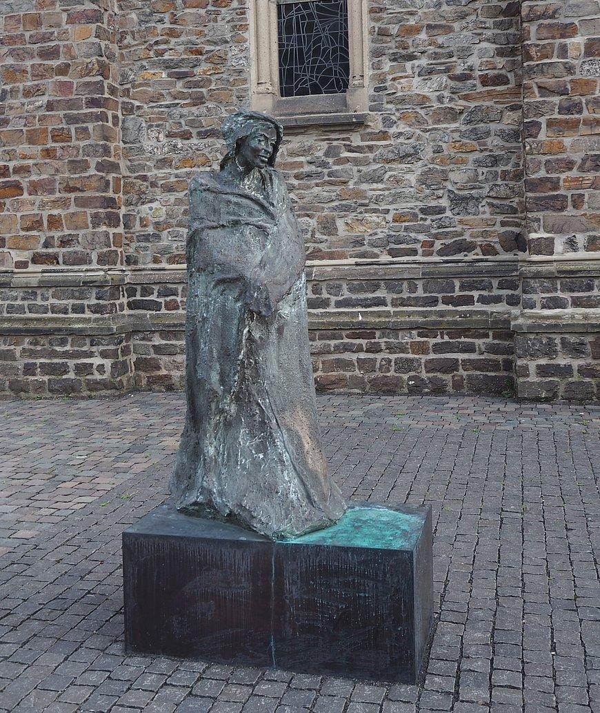 Sculpture of Hildegard von Bingen in Bingen, Nahe valley
