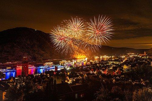 Feuerwerk zu Rhein in Flammen in Oberwesel, Romantischer Rhein