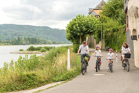 Family bike tour on the Rhine Cycle Trail, Romantic Rhine