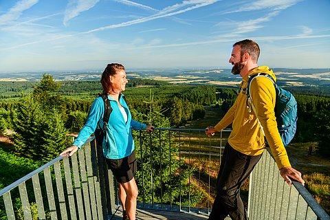 Aussicht von der Skulptur Windklang auf dem Erbeskopf im Hunsrück