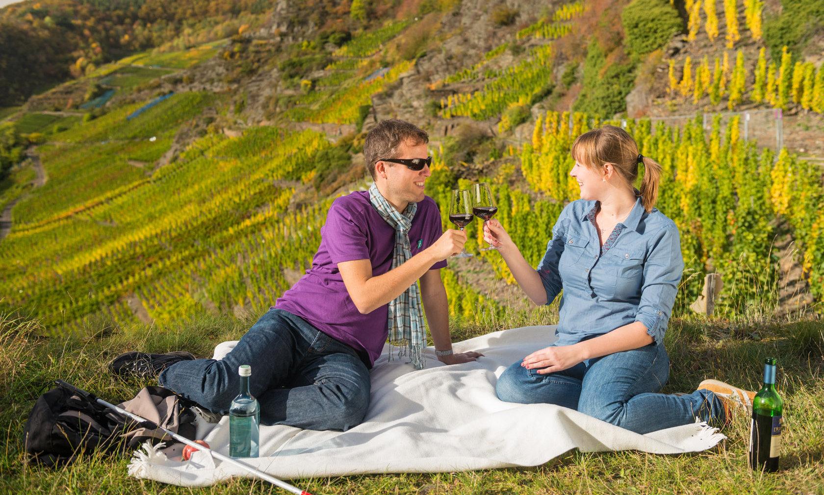 Gemütliches Picknick in den Weinbergen bei Mayschoss im Ahrtal.