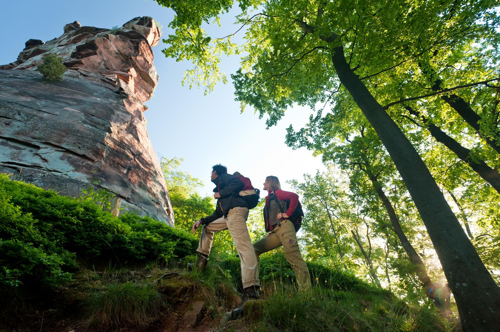 Wanderer vor Felsenkulisse auf dem Pfälzer Weinsteig, Pfalz