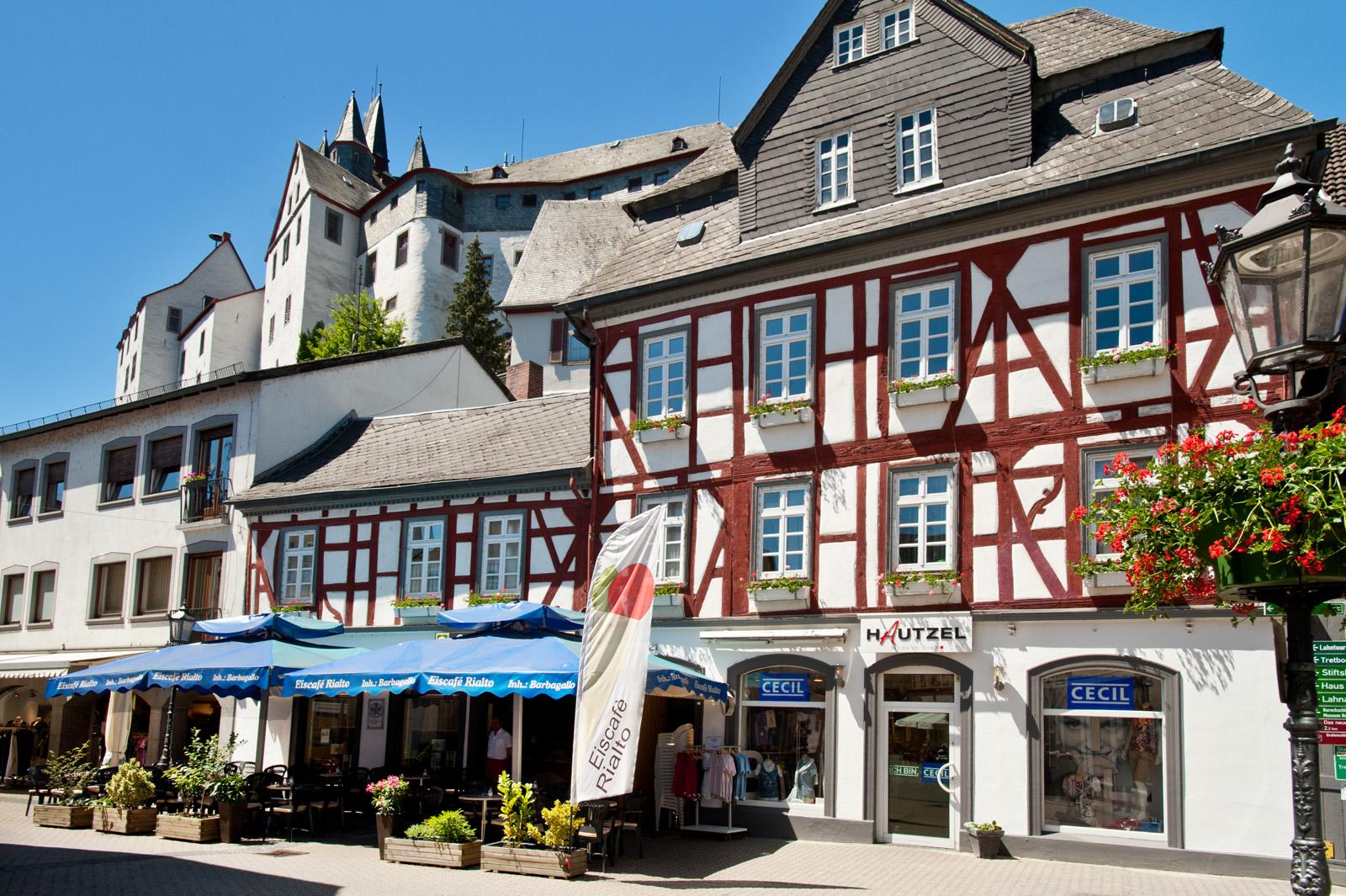 Vakwerkhuis in de oude stadskern van Diez, Lahndal