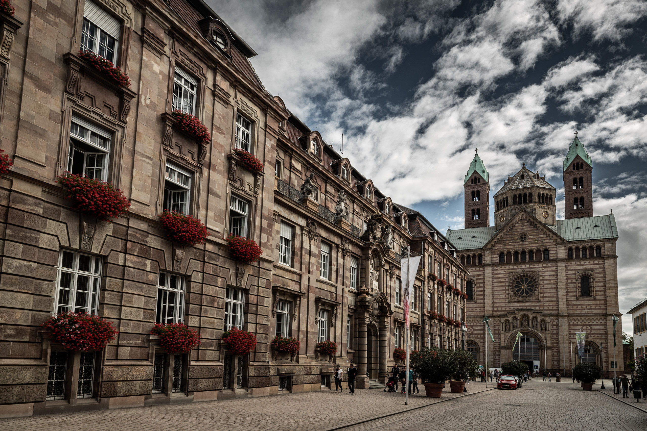 View of the Speyer Cathedral in the old town of Speyer, Palatinate