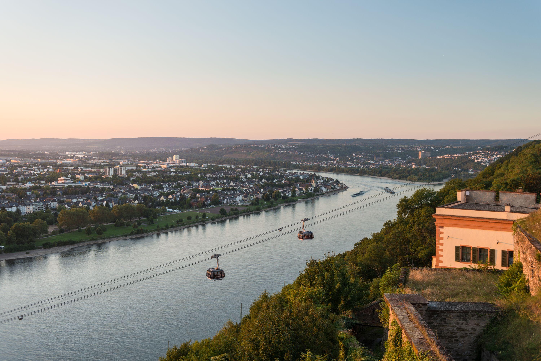 Met de kabelbaan Koblenz naar de vesting Ehrenbreitstein, Romantische Rijn