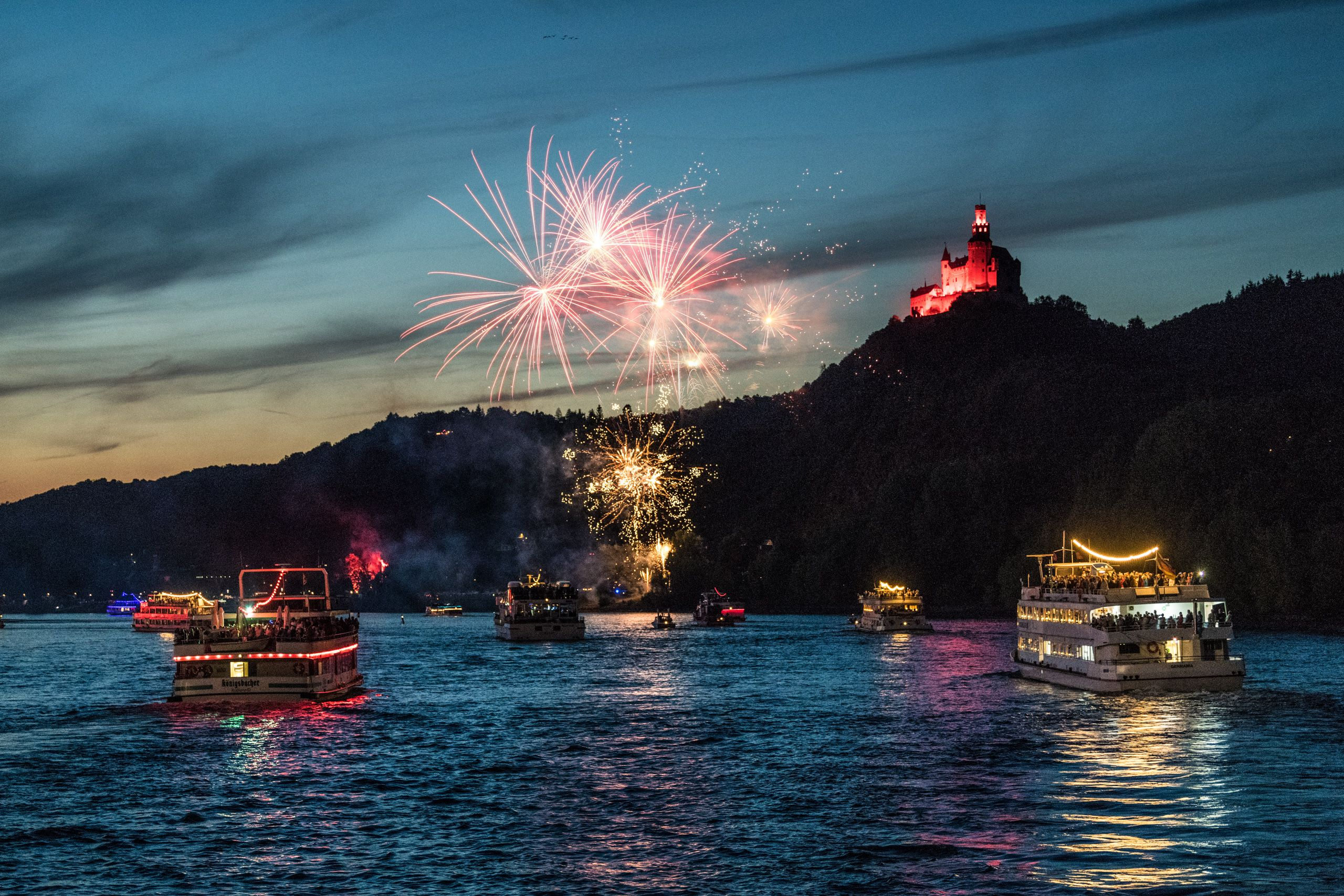 "Fireworks of ""Rhine in Flames"" at Marksburg Castle in Braubach, Romantic Rhine"