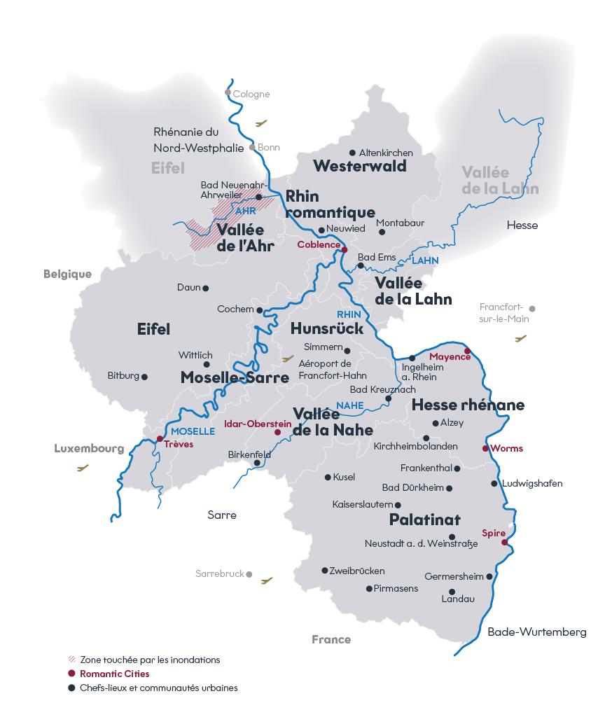 Carte de la Rhénanie-Palatinat, avec ses dix régions et ses villes romantiques