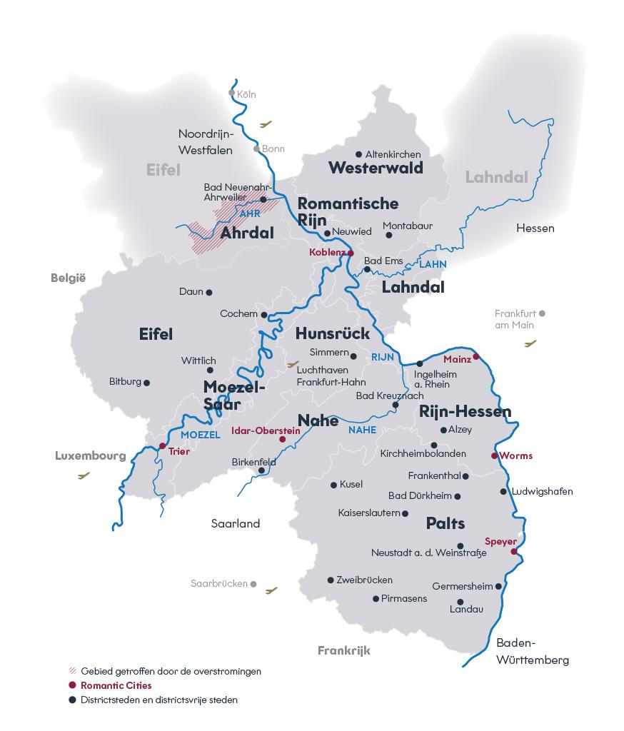 Overzichtskaart van Rijnland-Palts met de tien regio's en de Romantic Cities