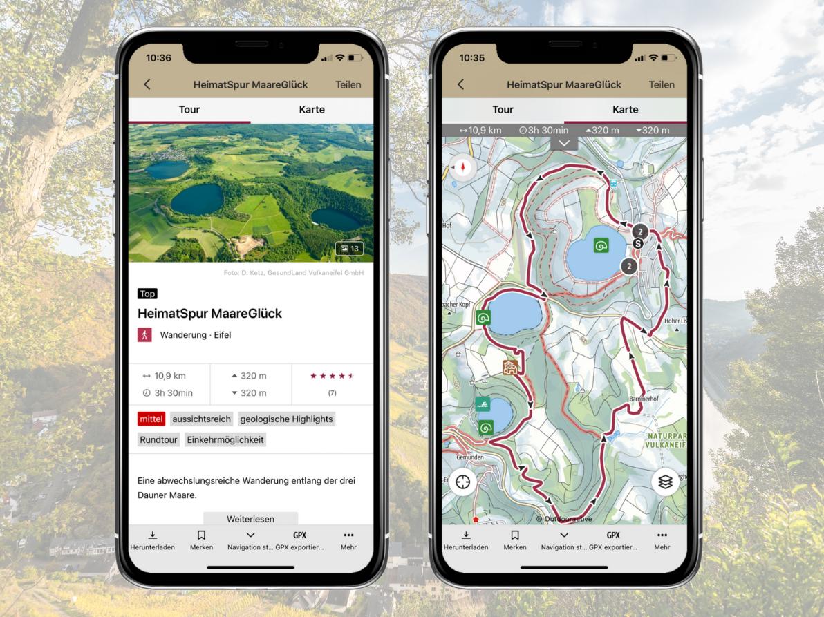 Mobile Darstellung Tourendetails, Rheinland-Pfalz erleben App