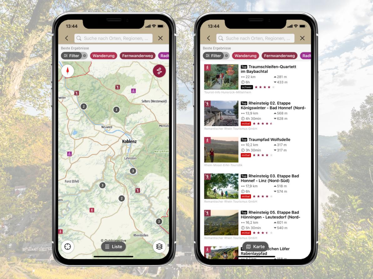 Mobile Darstellung Tourenübersicht, Rheinland-Pfalz erleben App