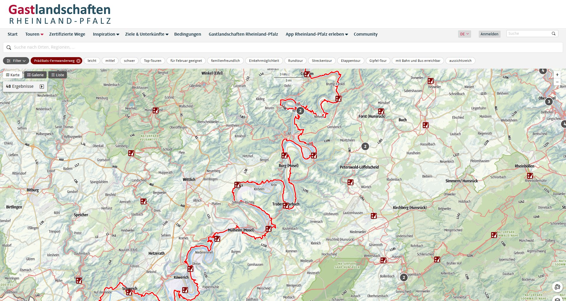 Desktop view of the Tourplanner Rhineland-Palatinate