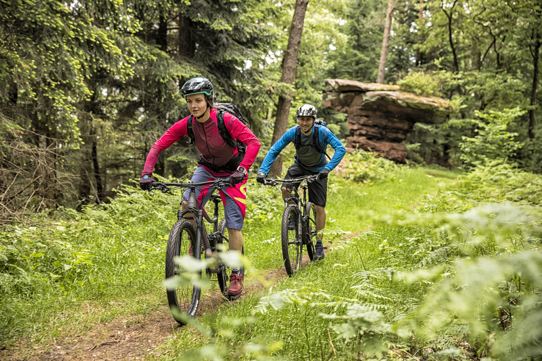 Mountainbikers in het Mountainbikepark Pfälzerwald (Paltserwoud), Palts
