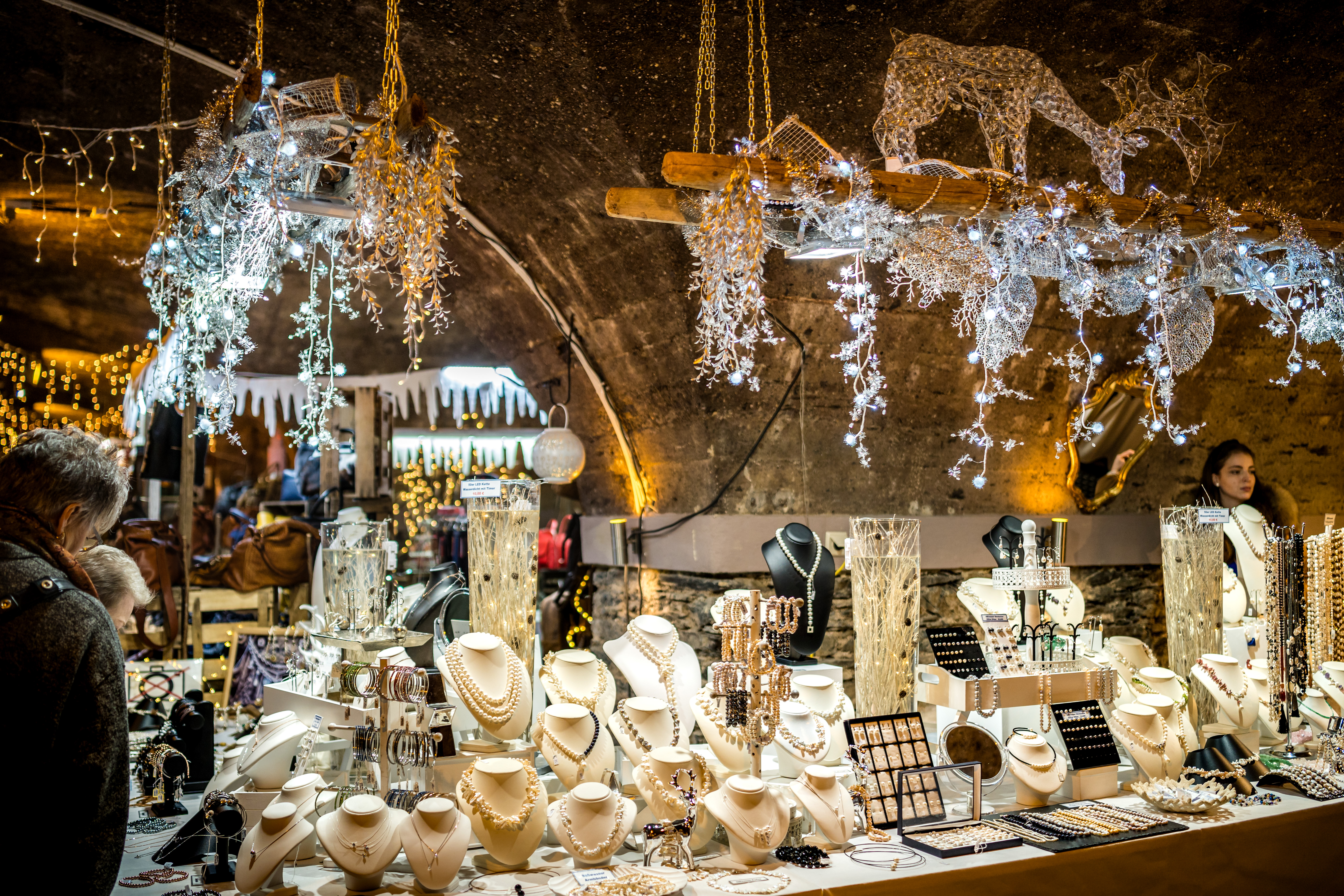 Jewelry stall at the underground Christmas market, Moselle valley